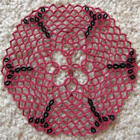 Red and Black Doily